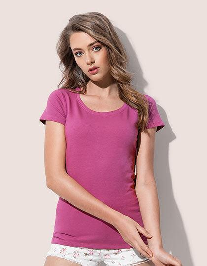 Różowa damska koszulka z krótkim rękawem